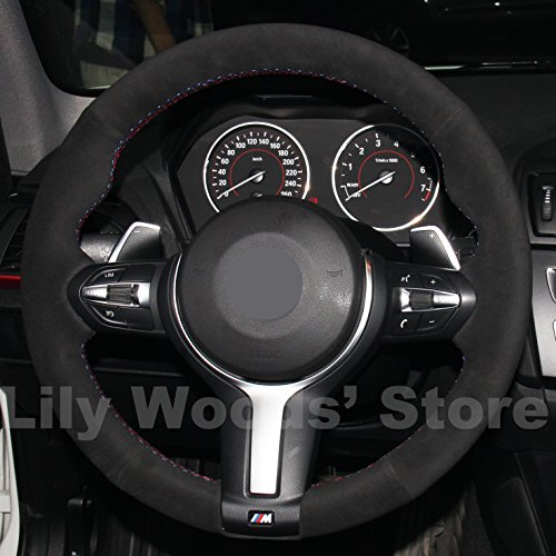 JI Loncky Black Suede Steering Wheel Cover for BMW Gran Turismo 328GT 330GT 335GT 340GT 535GT 550GT /BMW Gran Coupe 428 430 435 440 640 650 M6 Gran Coupe