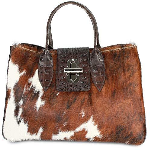 Belli Echt Leder Handtasche Damen Ledertasche Umhängetasche Henkeltasche in braun kroko mit Kuhmuster - 36x25x18 cm (B x H x T)