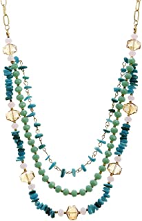 LUREME Layered Glass Beads Necklace Beaded Long Chain Necklace for Women (nl006258)