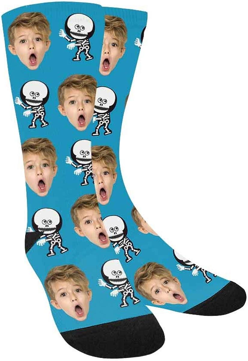 Custom Face on Socks, Skeleton Robot Boy's Socks with Personaliz