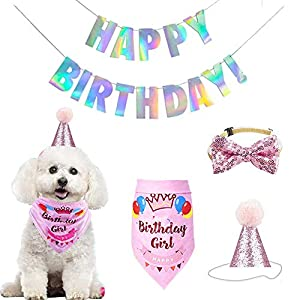 Adorable Birthday Party Kit for Dogs Girl, Include Bandana Scarfs, Blingbling Party Hat, Holographic Happy Birthday Banner, Cute Bow Tie Collar, Ideal Doggie Accessories Set Party Supplies Decorations