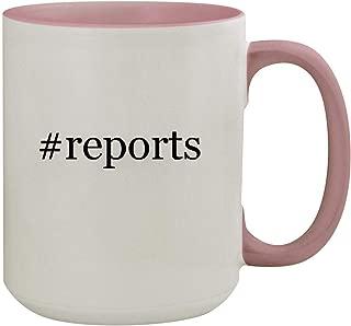 #reports - 15oz Hashtag Colored Inner & Handle Ceramic Coffee Mug, Pink