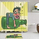 Juego de cortinas y tapetes de ducha de tela,Hombre borracho de dibujos animados en botella de licor resaca alcohol,cortinas de baño repelentes al agua con 12 ganchos, alfombras antideslizantes