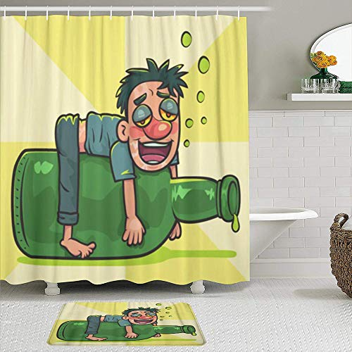 MEJAZING Shower Curtain Sets with Non-Slip Rugs,Cartoon Drunk Man on Liquor Bottle Hangover Alcohol,Waterproof Bath Curtains Hooks and Bath Mat Rug Included