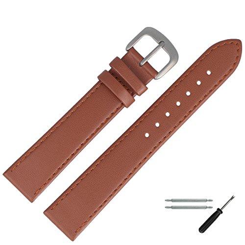 MARBURGER Uhrenarmband 14mm Leder Braun Titan - Werkzeug Montage Set 7591434000420