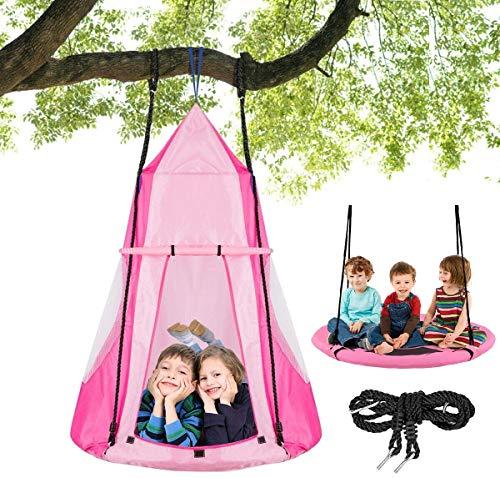 Costzon 2 in 1 Kids Detachable Hanging Chair Swing Tent Set,...