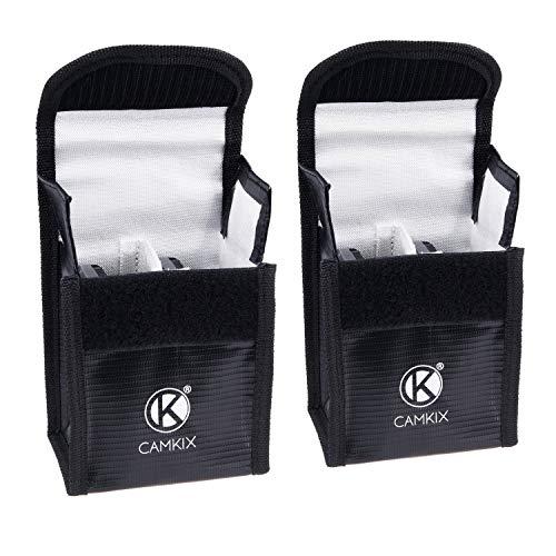 Bolso LiPo Antiexplosiones CamKix para Baterías Compatible con el dji Mavic Pro/Platinum - Paquete de 2 - Bolsa de Almacenamiento y Seguridad Resistente al Fuego - hasta 4 Mavic