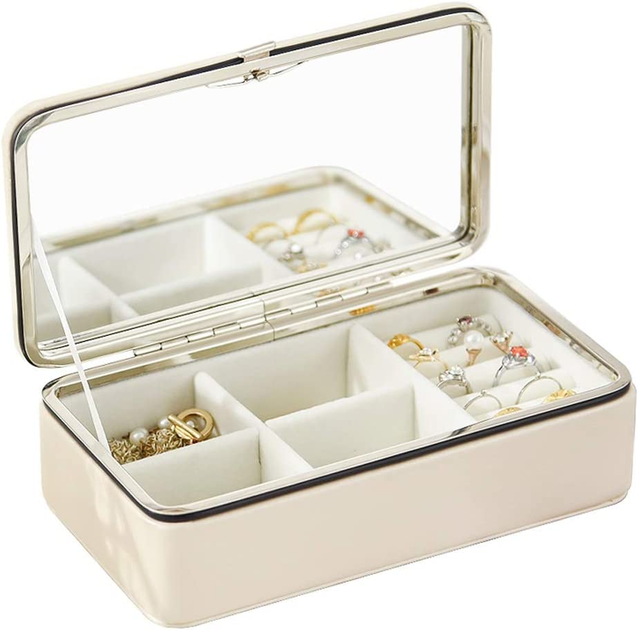 JJZXC Portable Simple Jewelry Popular shop is the lowest price challenge Storage Box with Ladies' Max 67% OFF L Mirror
