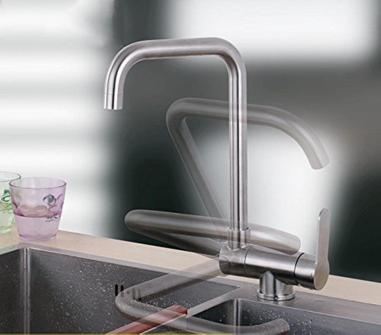 Küche mit herausziehbarer Dual-Spülbrauset 304 en acier inoxydable cuisine robinet d'eau chaude et froide pliant tournant monotrou intérieur fenêtre anti-évier évier bassin robinet court