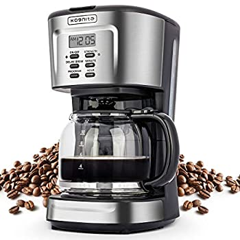 12 Cup Coffee Maker Programmable Small Coffee Maker with Glass Carafe and Filter Dirp Coffee Maker Coffee Pot Machine Keep Warm Brew Strength Control 900W Fast Brew Auto Shut Off Stainless Steel