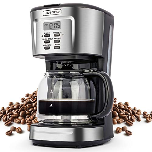 Coffee Makers 12 Cup - Coffee Machine, Programmable Coffee Maker, Small Stainless Steel Drip Coffee Maker with Auto Shut-off, Non-stick Heating Plate, Glass Carafe, ETL Listed