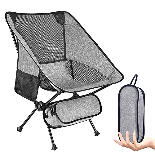 Camping Chairs Outdoor Ultralight Compact Portable Folding Backpacking Chair Cationic Fabric for Beach Outdoor Picnic Travel Fishing Hiking Up to 330lb (Gray)