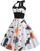 God's pens Women's Halloween Dress Sexy Vintage Print Halter Sleeveless Dress Evening Party Swing Skirt Tops Blouse