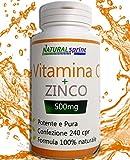 VITAMINA C+ZINCO ALTO DOSAGGIO 500 mg + Zinco 240 compresse,prodotto Made...