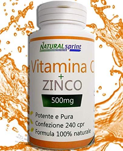 VITAMINA C+ZINCO ALTO DOSAGGIO 500 mg + Zinco 240 compresse,prodotto Made in Italy SENZA METALLI PESANTI