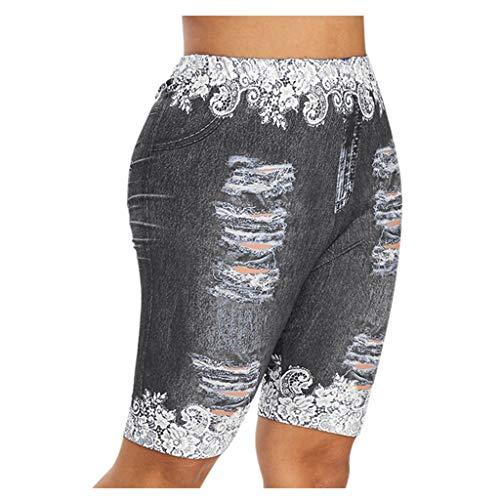 Xniral Hosen Damen Spitze Nähen Unecht Jeans Shorts Kurz Legging Caprihose Freizeithose Elastische Taille Schmetterling Drucken Jogginghose(b-Grau,S)