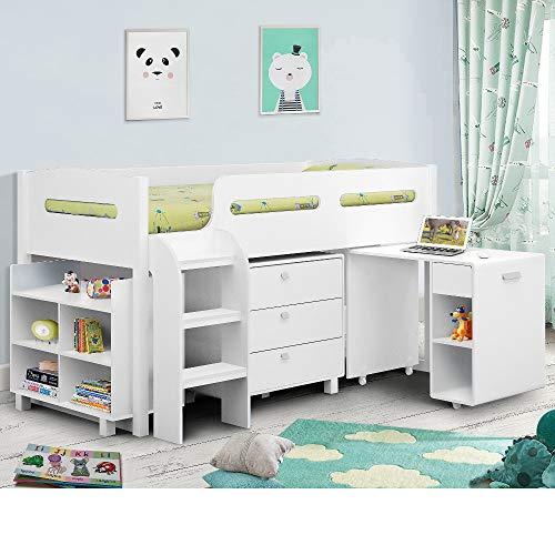Happy Beds Kimbo Sleep Station Children Kids Cabin Bunk Bed Storage Drawers 3' Single 90 x 190 cm