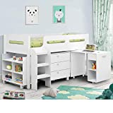 Happy Beds Kimbo White Sleep Station Children Kids Cabin Bunk Bed Frame 3' Single 90 x 190 cm