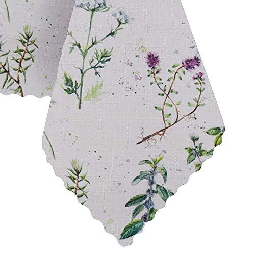 Mantel de Elbrus lavable con aspecto de lino, repele la suciedad y el agua, protección antimanchas, diseño estampado, 150 x 350 cm, color blanco, primavera y Pascua
