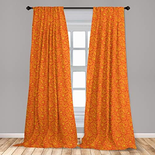 """Lunarable Burnt Orange Window Curtains, Abstract Circle Patterns in Vibrant Colors Retro Dotted Background, Lightweight Decorative Panels Set of 2 with Rod Pocket, 56"""" x 84"""", Orange Yellow"""