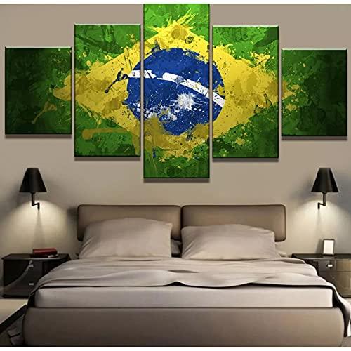 5 sogar dekorative Leinwandbilder 5 Stück Leinwand Kunst Brasilien Stolz Flagge Moderne Dekorative Gemälde auf Leinwand Wandkunst für Heimtextilien Wanddekor Wandbild