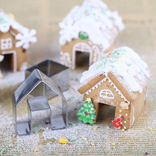 Girasool Keksausstechformen-Set, Weihnachts-Haus, Mini-Lebkuchen-Haus, Edelstahl, Keksausstecher, Schokolade, kleines Haus, DIY Backen, Dekorieren Werkzeuge