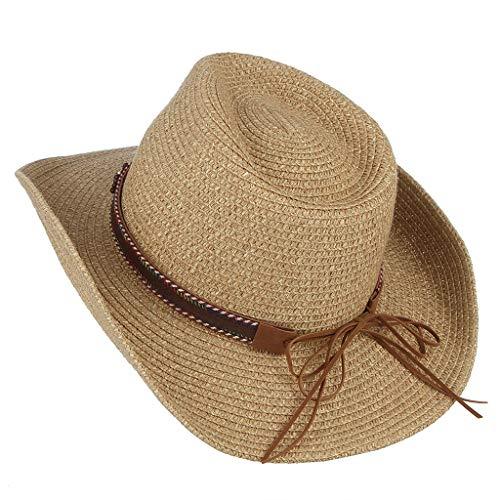 Sonnenhüte Für Männer Frauen Strandhüte Dome Cowboy Panamahut Hochzeitshut Fedora Hut UV-Schutz Einstellbare Sommer Faltbare Breiter Krempe Cap Hut (Khaki)