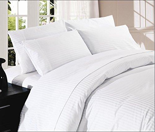 SRP Linen Dreamz Bedding- Juego de sábanas de algodón Egipcio de 1000 Hilos, 4 Piezas, 45 cm de Profundidad, tamaño King California, Rayas Blancas, 100% algodón, 1000 Hilos