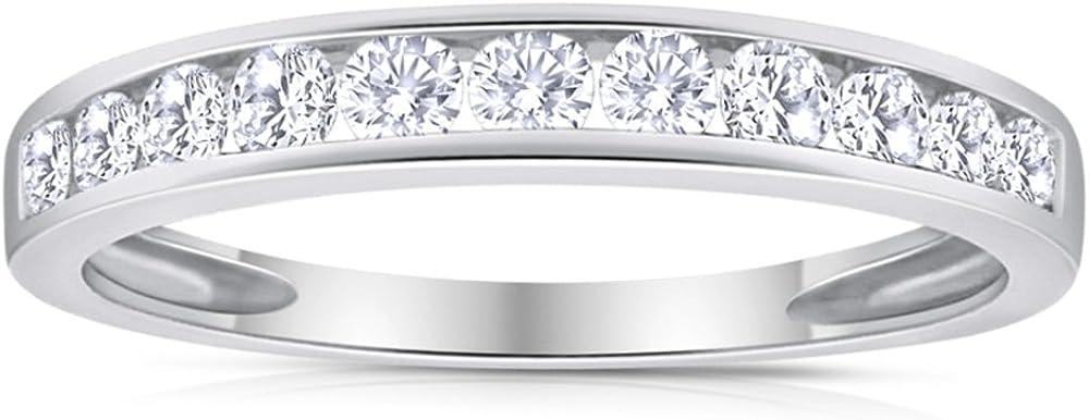 1/2 Carat TW Diamond Channel Wedding Band in 10k White Gold