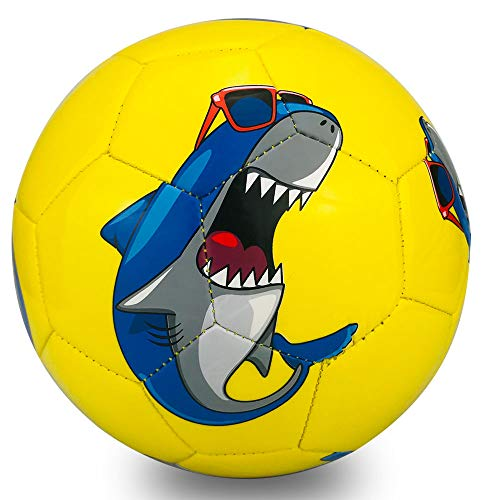 Champhox Kinder Fußball Ball mit Pumpe, Kinder-Sportball, Cartoon-Design, Kleinkinder, Freizeitball für drinnen und draußen, Ball für Kinder, Kleinkinder, Mädchen, Jungen, Kinder (Shark, Size 3)