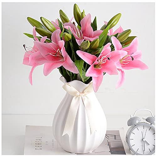 WDDLD Lirios Artificiales, Flores Artificiales para DecoracióN De Interiores, SalóN, BañO, Boda, Oficina, Interior Y Exterior (Rosa)
