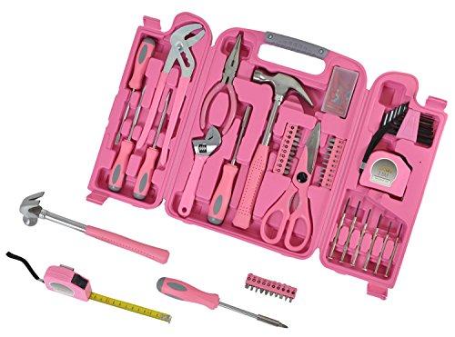 PAPERLINO Werkzeugkoffer in PINK mit Werkzeug in PINK. Originelle Geschenkidee für Frauen (Schwester, Mama, beste Freundin etc.). Lustiges Einweihungsgeschenk