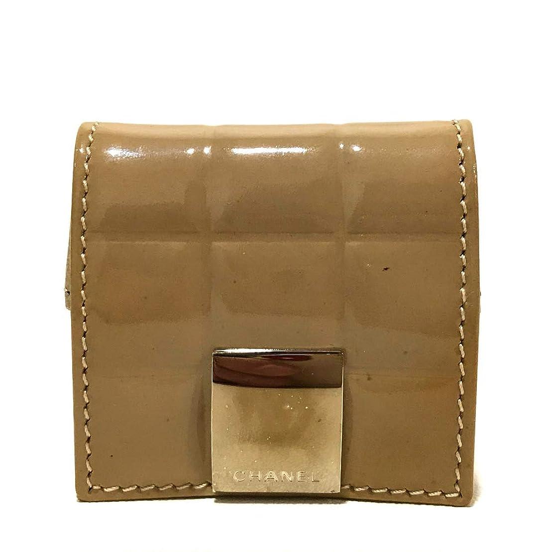交換バースト聖なる(シャネル)CHANEL A19273 チョコバー 小物入れ 小銭入れ 財布 コインケース パテントレザー レディース 中古