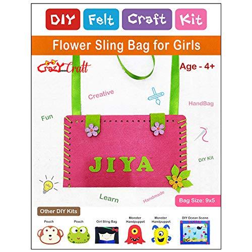 Crazy Craft Flower Personalised Sling Bag for Kids/Girls DIY Felt Craft Kit | Learning Activity Kit | Stiching kit
