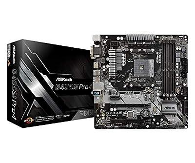 ASRock B450M Pro4 AM4 M-ATX D-Sub/HDMI/DVI DDR4 Retail - AMD Socket AM4 (Ryzen) - Micro/Mini/Flex-ATX Motherboard