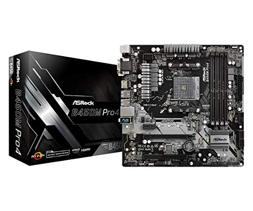 Photo of ASRock B450M Pro4 AM4 M-ATX D-Sub/HDMI/DVI DDR4 Retail – AMD Socket AM4 (Ryzen) – Micro/Mini/Flex-ATX Motherboard