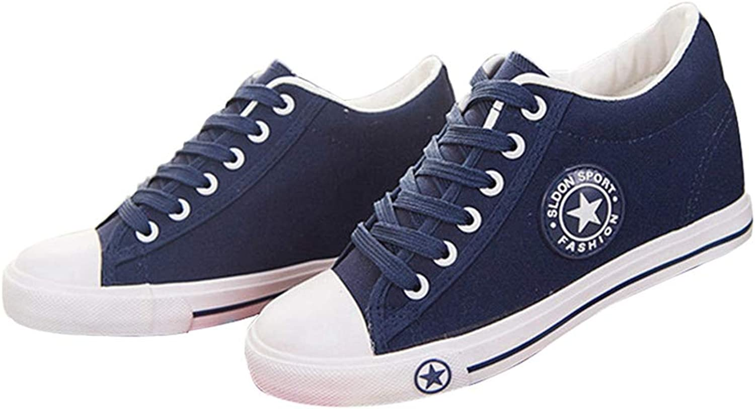 Zarbrina Wedges Sneakers for Womens Canvas Lace up shoes Casual Female Trainers Cute bluee Hidden Height Heel