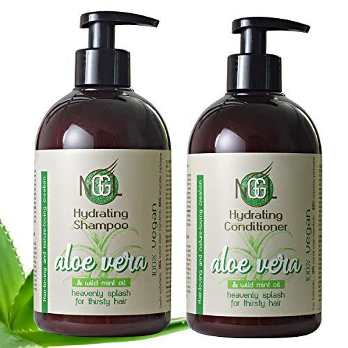 NGGL - Pack de champú nutritivo y acondicionador veganos con áloe vera 100% natural y aceite de menta silvestre, 500 ml cada uno