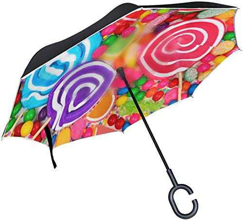Regenbogen Farbe Candy Umgekehrter Regenschirm,C-förmiger Griff Winddichter UV-Schutz Travel Outdoor Sun Car Wendeschirm