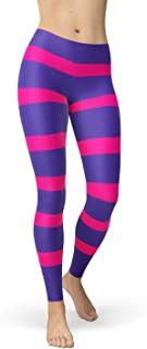Stripes Leggings for Women Pink Purple Striped Cheshire Cat Inspired Mid Waist Pants