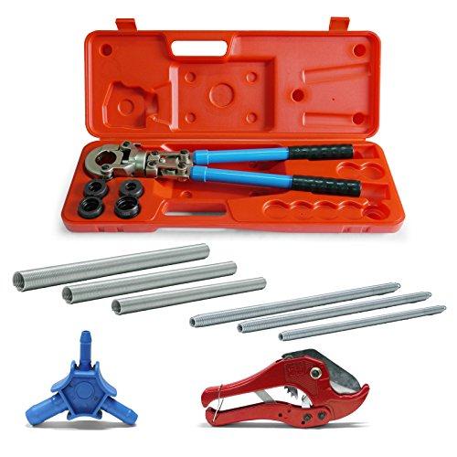 Pipetec Montage-Werkzeug-Set 16x2 20x2 26x3 mm Presszange Rohrschere Kalibrierer Biegefeder Verbundrohr