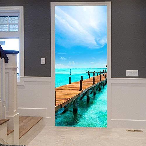 KEXIU 3D Muelle de la isla PVC fotografía adhesivo vinilo puerta pegatina cocina baño decoración mural 77x200cm