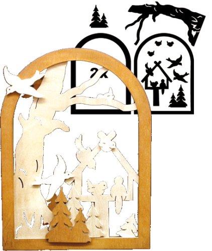 alles-meine.de GmbH Holz Bastelset 3-D - Fensterbild Vogelhaus - komplett ausgesägt Natur Vögel / zum selber basteln - Echt Erzgebirge Deko für Wei..
