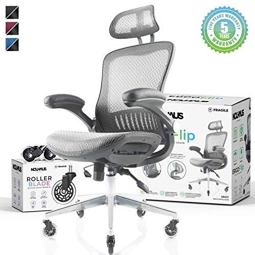 NOUHAUS Ergo Flip! Mesh Computer Chair – Grey Rolling Desk Chair with Retractable Armrest and Bonus Blade Wheels! Ergonomic Office Chair, Gaming Chairs, Executive Swivel Chair, Reinforced Base chair gaming