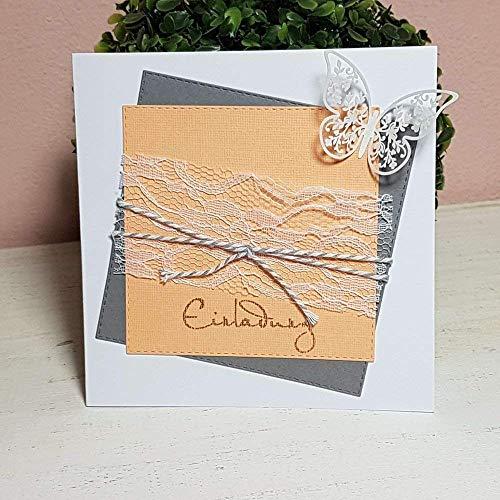 5 Stück Einladungskarte Hochzeit SQUARE grau-apricot Schmetterling
