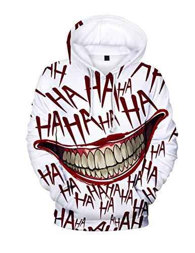 Herren Kapuzenpullover Halloween, Unisex Männer Damen Horror Clown Joker Poker 3D Druck Hoodie Jungen Ugly Shantou Cosplay Pullover Kinder Skull Pulli Mädchen Sweatshirt Oberteile Kostüm (F,XL)