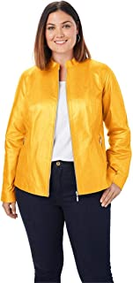 6a1710c63c320 Jessica London Women s Plus Size Zip Front Leather Jacket