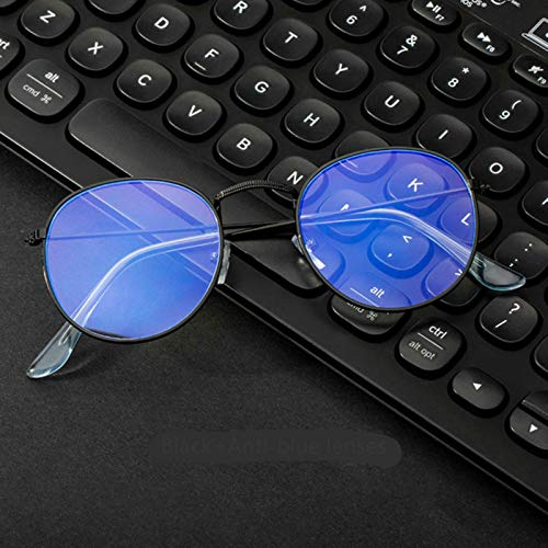 LuckyOne Gafas de ordenador anti rayos azules gafas de bloqueo de luz azul gafas de ojo óptico gafas de bloqueo UV juego filtro redondo gafas