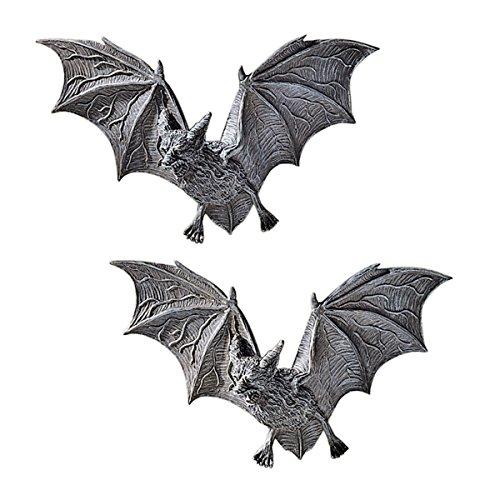 Design Toscano PD0054 Vampire Bat - Les chauves-souris Vampire de Château Barbarosa Sculptures murales - Lot de 2 - Bat Figure - Les chauves-souris Halloween