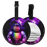 Astronaut Listening to Music.png Etiquetas redondas de equipaje de cuero etiquetas de identificación de viaje, Black (Negro) - Lp7bgrc-47237234